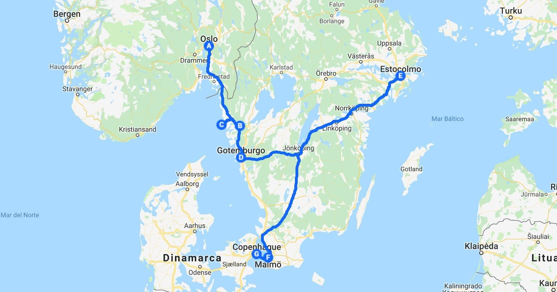 Recorrido por Escandinavia durante 8 días.