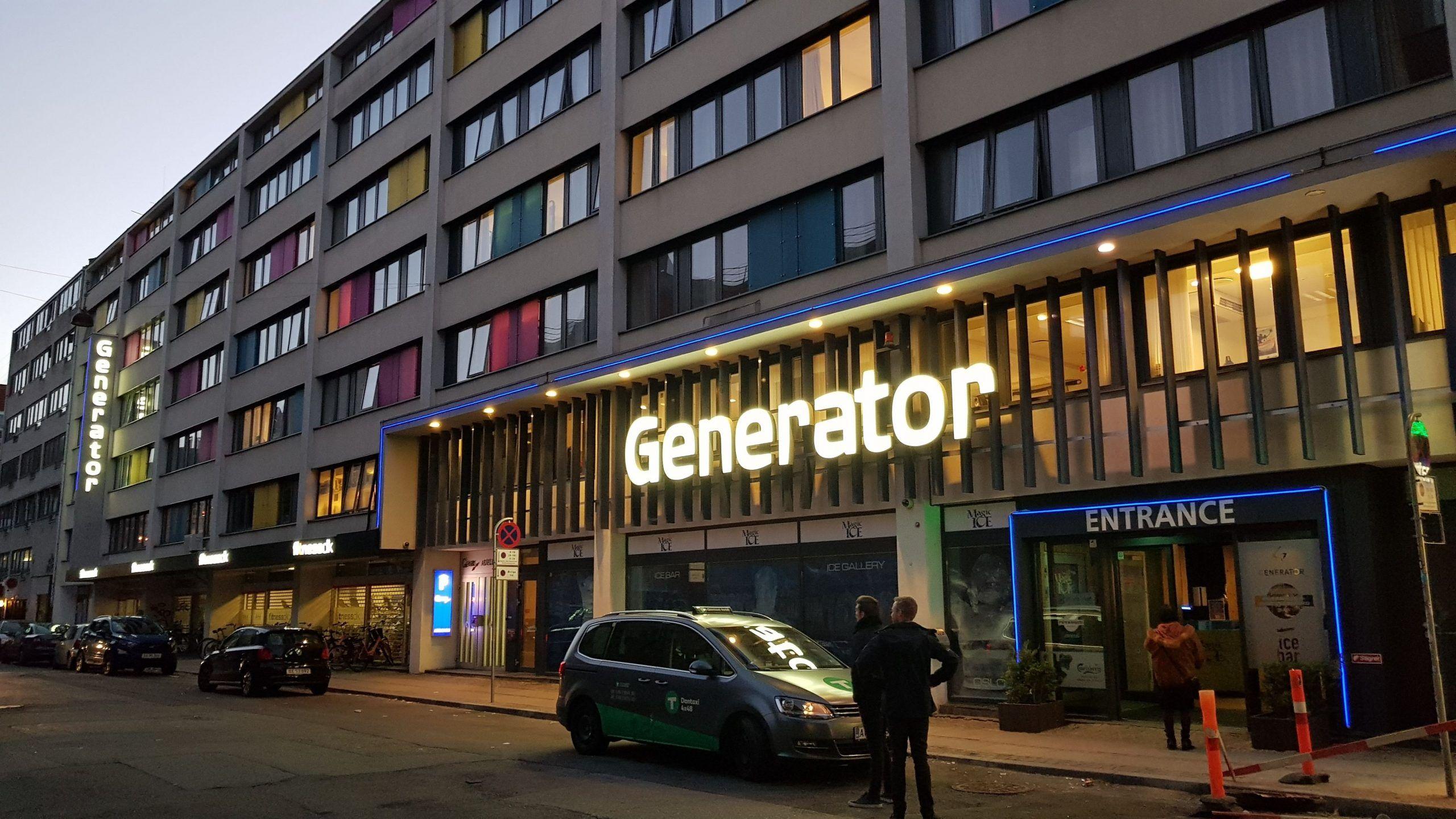 Fachada principal del hostal Generator de Copenhague.
