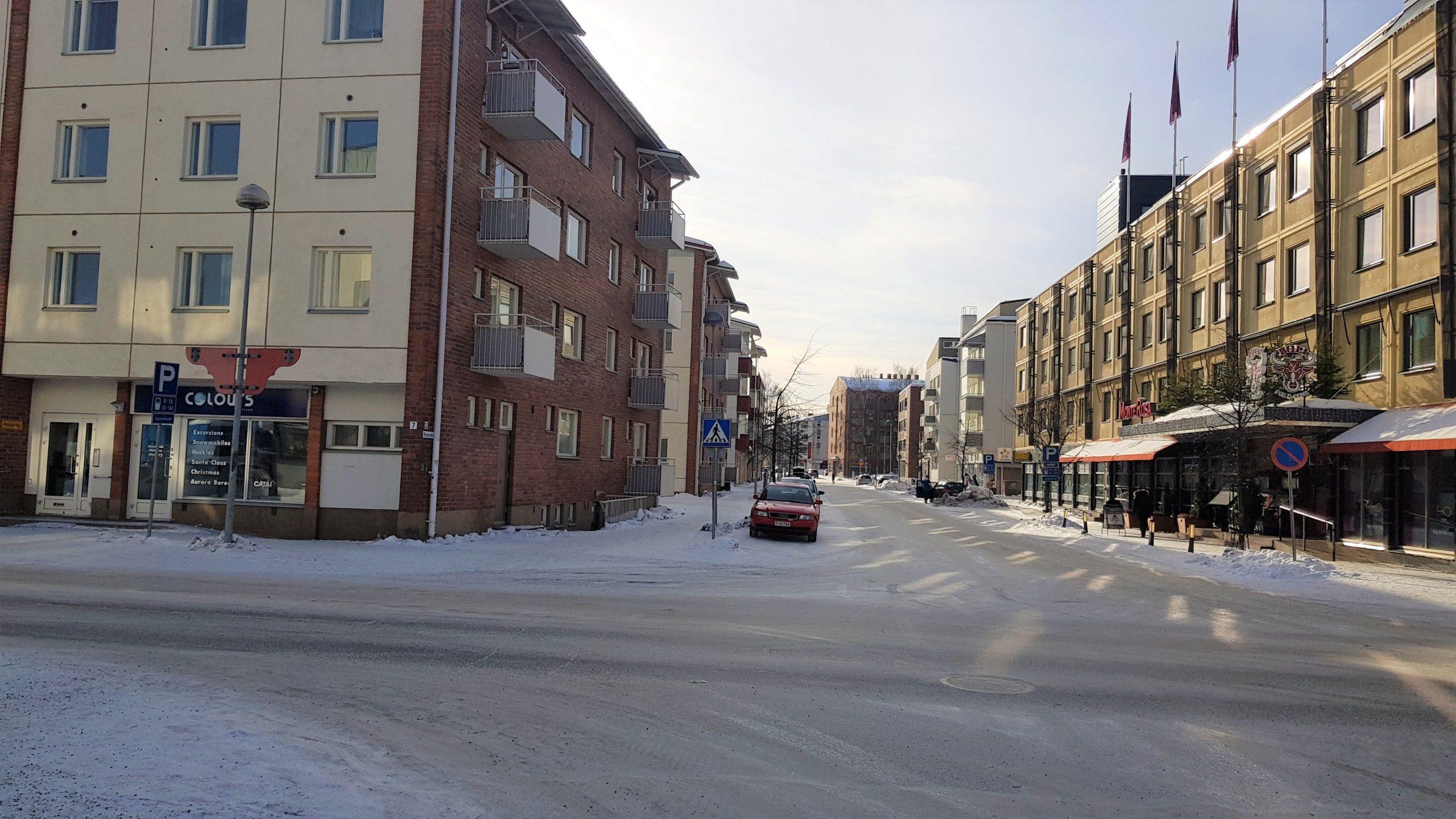 Calles de Rovaniemi nevadas,