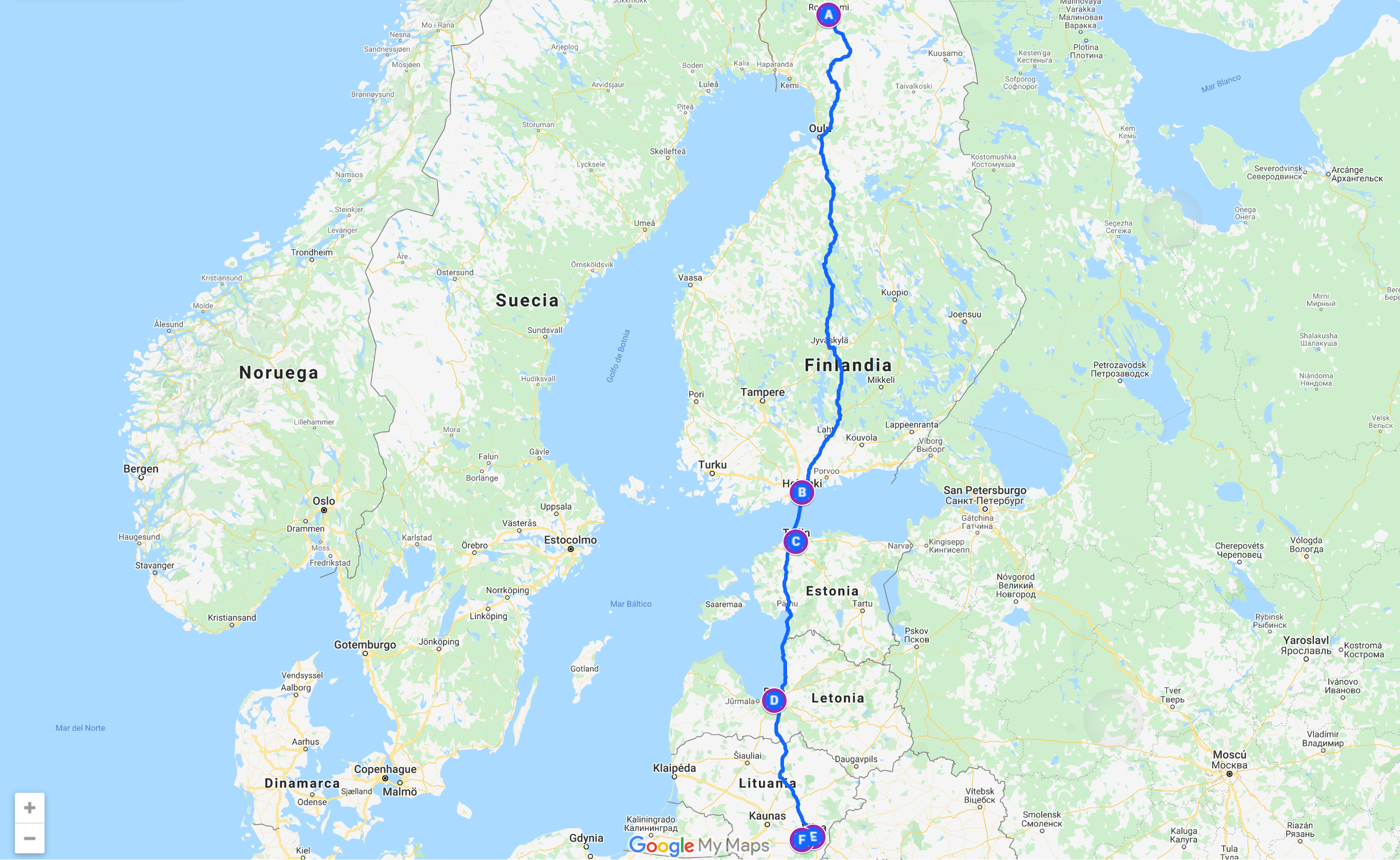 Recorrido por Finlandia,Estonia,Letonia y Lituania